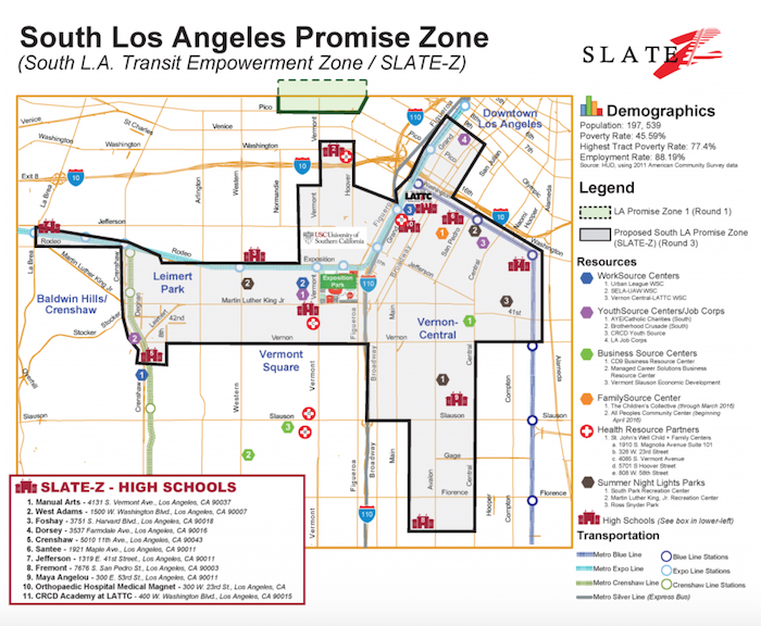Slate-Z's Promise Zone designation covers South L.A. neighborhoods south of the 10 freeway including parts of Vernon-Central, South Park, Florence, Exposition Park, Vermont Square, Leimert Park and Baldwin Hills/Crenshaw area.