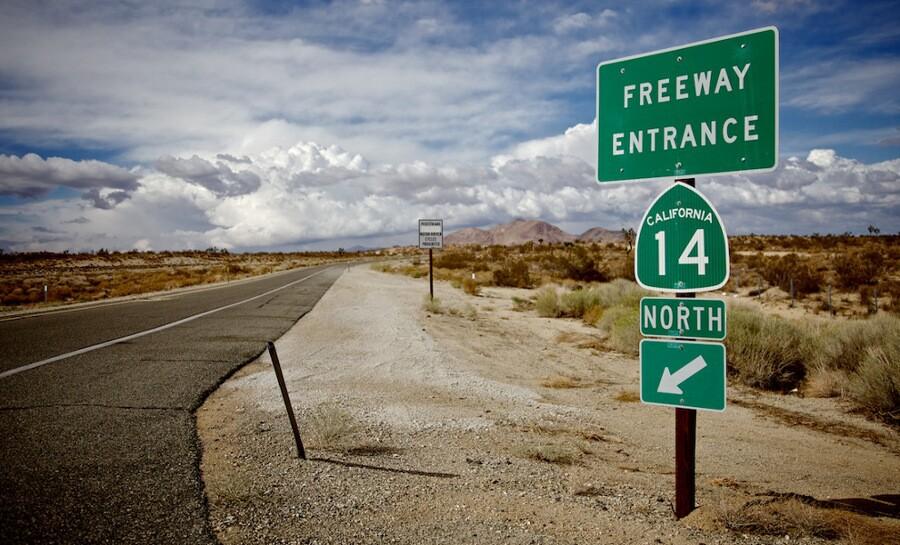 """Freeway Entrance."" North of Lancaster, CA. 2012.   Photo: Osceola Refetoff."