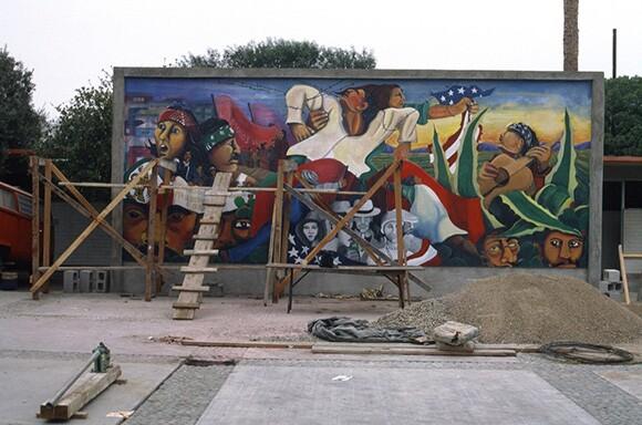 """Festival de la Raza"" mural in Tijuana by Malaquias Montoya, 1986. Courtesy Of Malaquias Montoya."