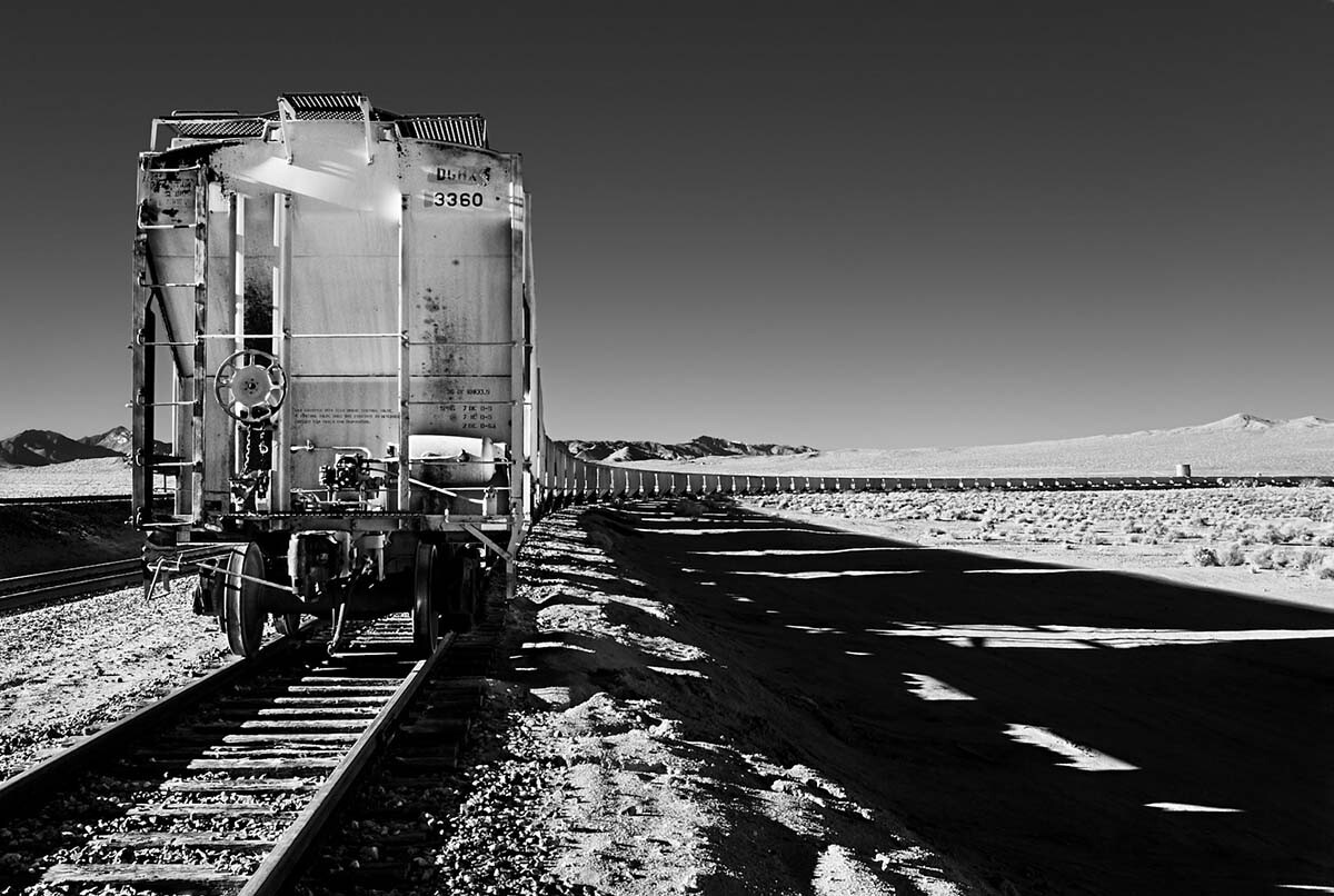 Serpentine Boxcars - Infrared Exposure - Searles, CA - 2010 | Osceola Refetoff