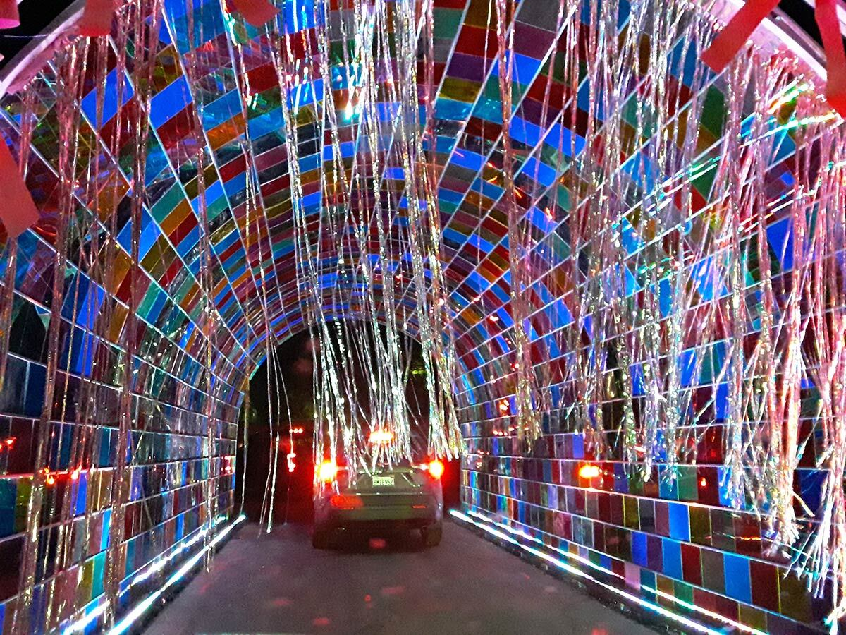 A tunnel of colorful decorations at WonderLAnd at Westfield Topanga & The Village. | Sandi Hemmerlein