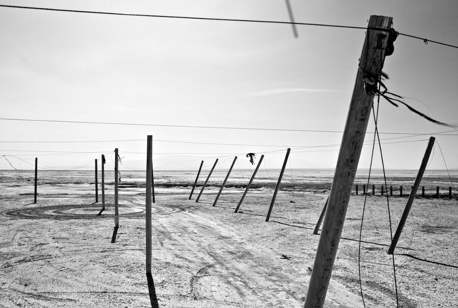 """Poles and Dirt Circle No. 1,"" infrared exposure. Salton Sea, CA. 2014. | Photo: Osceola Refetoff."