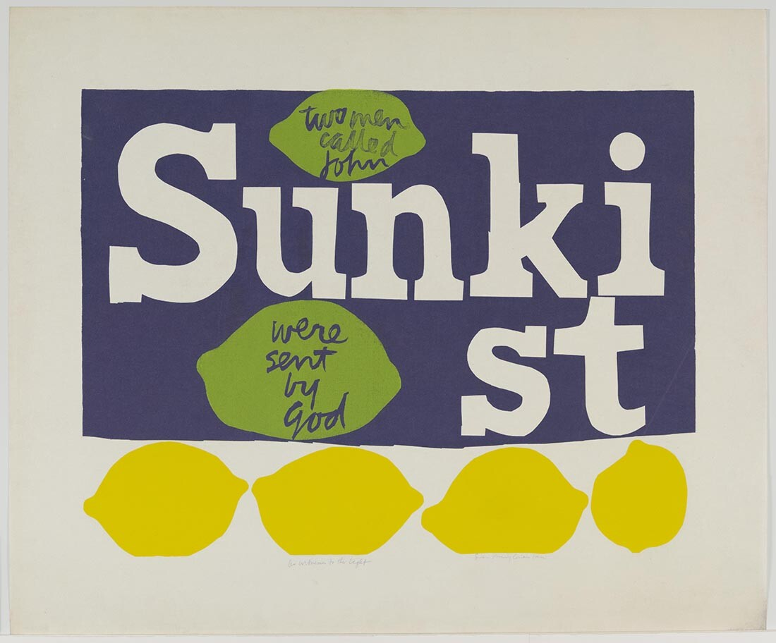 as a witness to the light for john 23 and j.f.k., 1964 | Collection UCLA Grunwald Center for the Graphic Arts, Hammer Museum. Corita Kent Bequest.