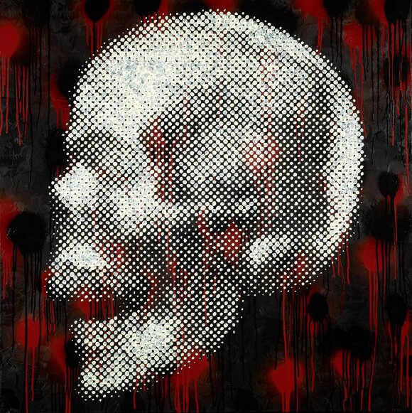 """Memento Mori (Atomized)"" by Chris ""Coop"" Cooper, 2012. Acrylic, enamel & spraypaint on canvas."