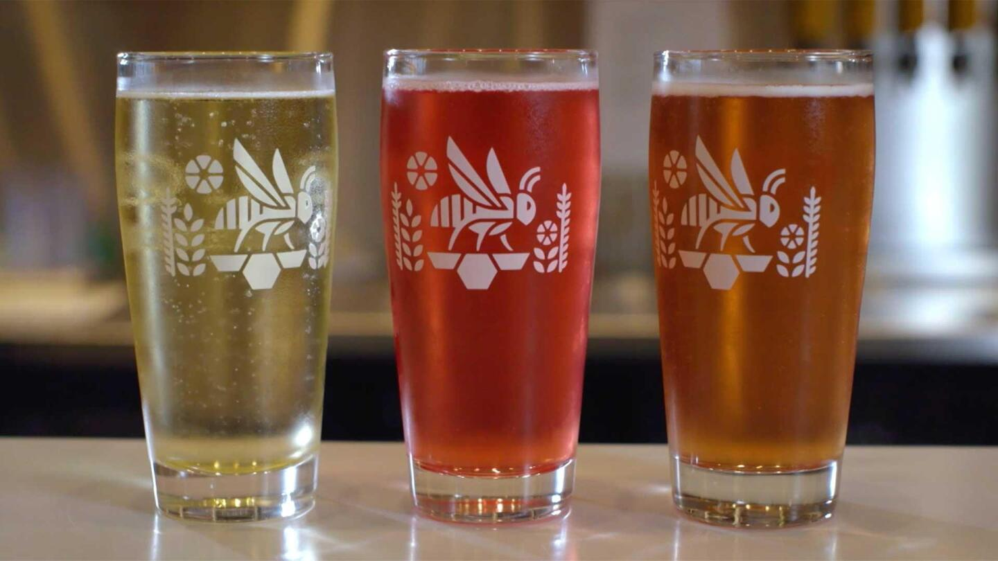 Three glasses of differently colored mead from Bløm Meadworks.