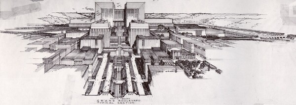 Lloyd Wright's plan for the Los Angeles Civic Center. Courtesy of Eric Lloyd Wright.