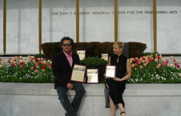 """Playwright Philip Valle and director bree valle display the five national awards that """"pool '63"""" received at the Kennedy Center American College Theater Festival in Washington, D.C., in April 2014. 