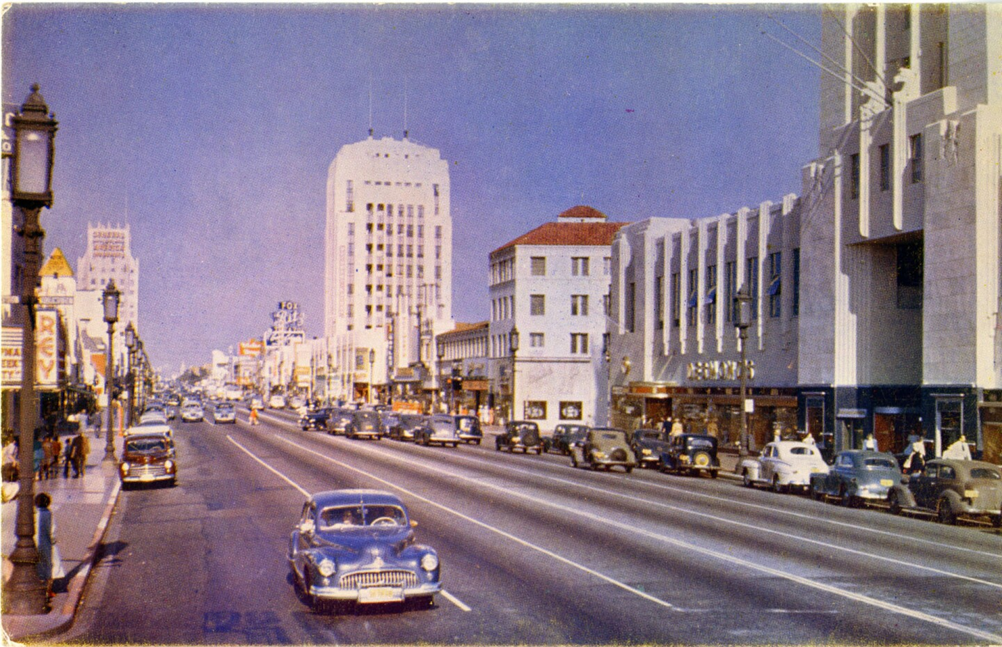 The Miracle Mile in color, circa 1947-52.