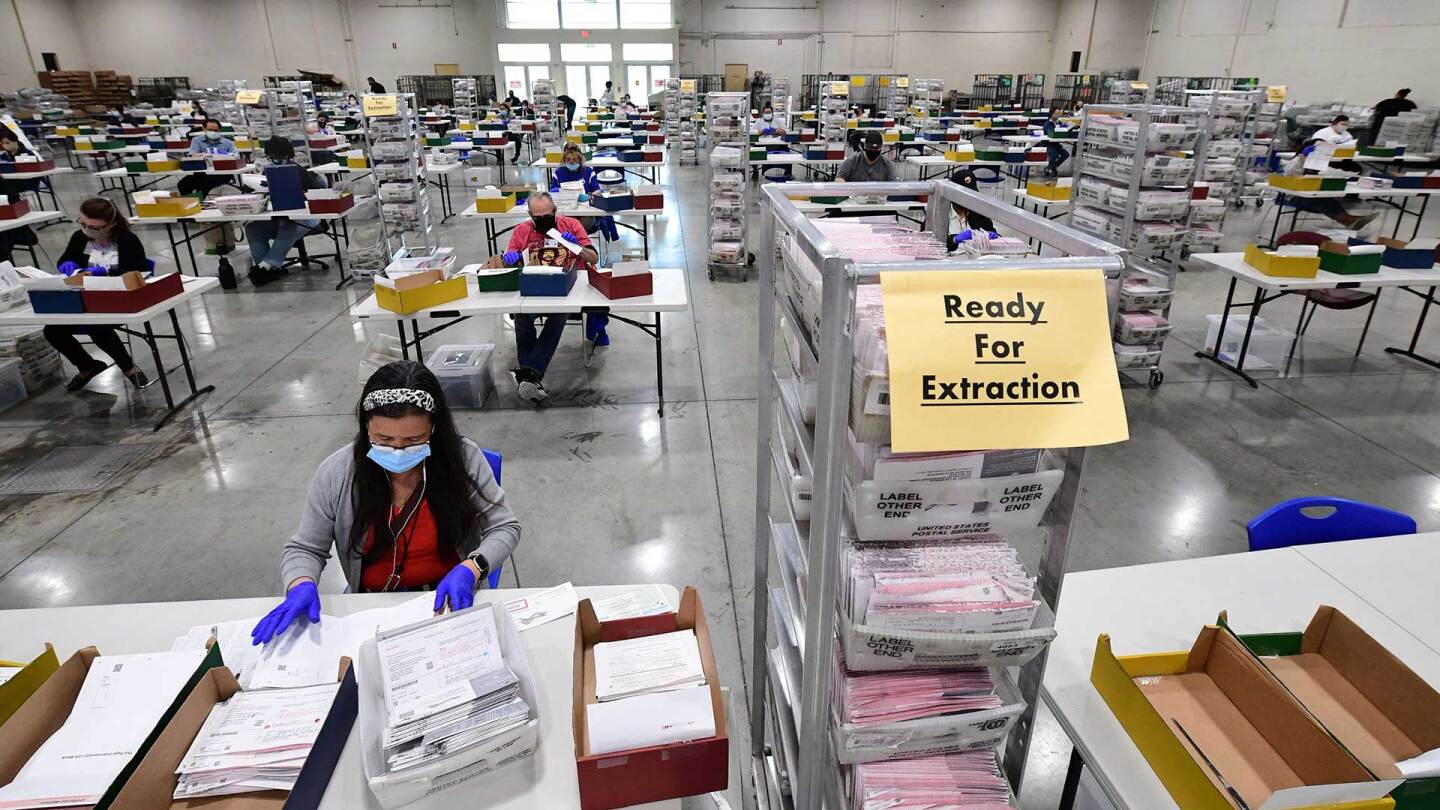 Election workers process mail-in ballots at the Los Angeles County Registrar Recorders' mail-in ballot processing center at the Pomona Fairplex in Pomona, California, October 28, 2020.