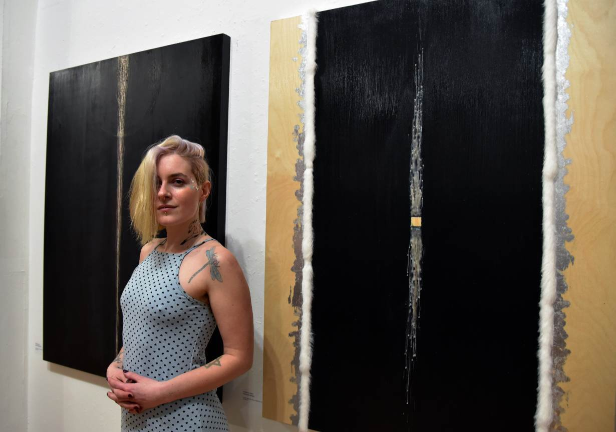 """Fera Lorde poses for a photo at the art show """"Our Right to Thrive"""" in Brooklyn, New York on March 3, 2020.   Handout: SWOP Brooklyn"""