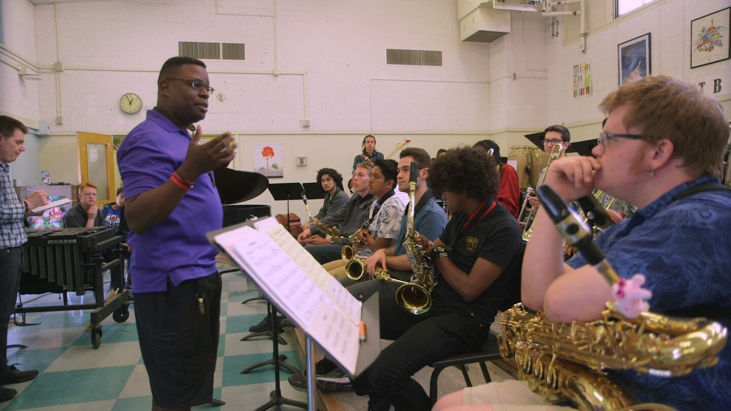 Tony White directs students in preparation for the Playboy Jazz Festival
