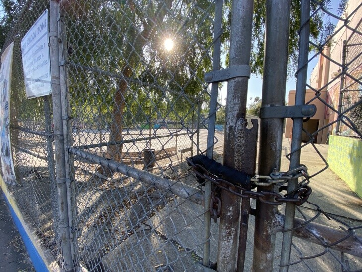 A padlocked gate at Micheltorena Street Elementary School, an L.A. Unified School District campus in Silver Lake, on April 1, 2020.