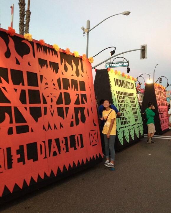 <em>Papel picado</em> float sponsored by Cervantes Mexican Kitchen. | Photo: Courtesy of Anaheim Halloween Parade.