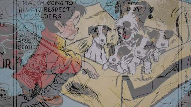 """A comic illustration of a boy and a litter of puppies is overlaid with another comic strip. 