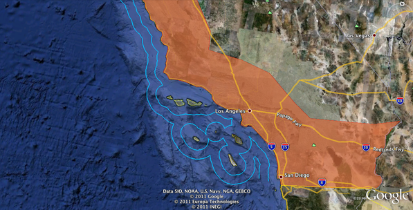 HR 1505 would affect the shaded areas of Southern California at a minimum | Google Earth map by Chris Clarke