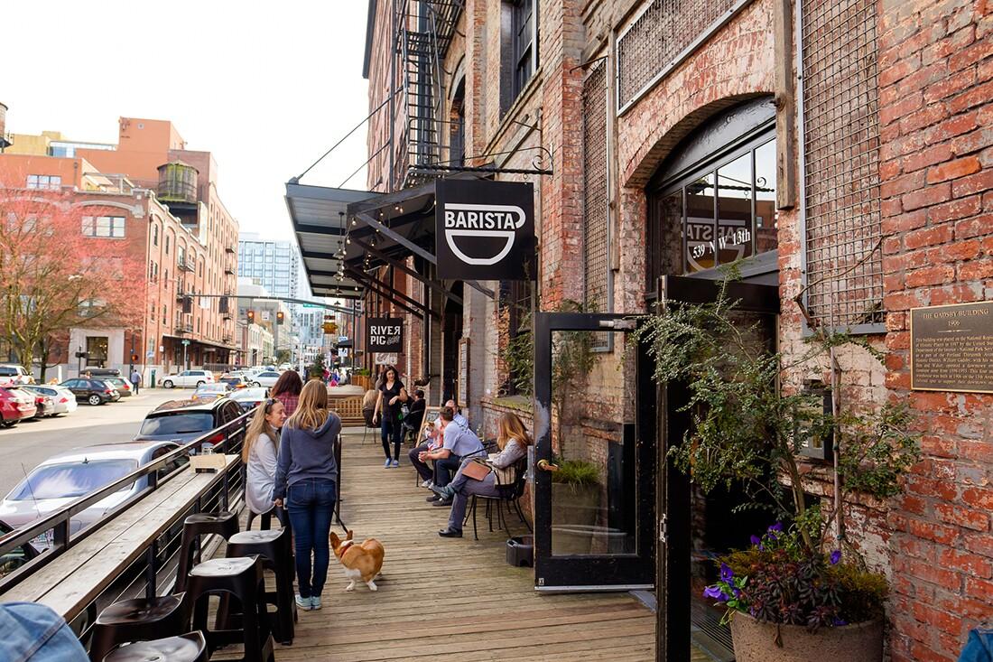 A barista Coffee Shop Cafe in Portland Oregon.