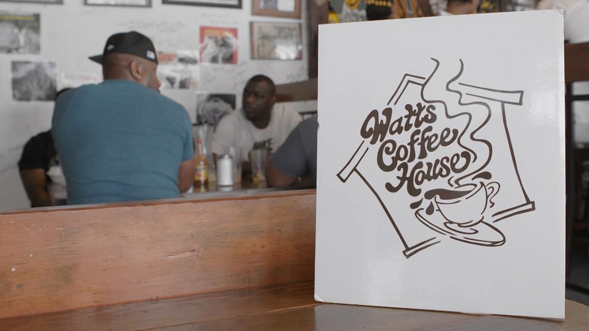 "Watts Coffee House logo | Still from ""Broken Bread"" Watts"