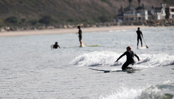 A surfer among paddleboarders north of Ventura, CA.