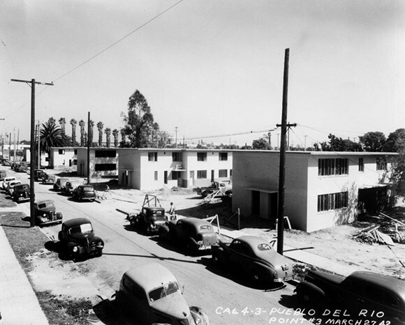 View of nearly completed Pueblo del Rio Housing Project | Courtesy of the Los Angeles Public Library