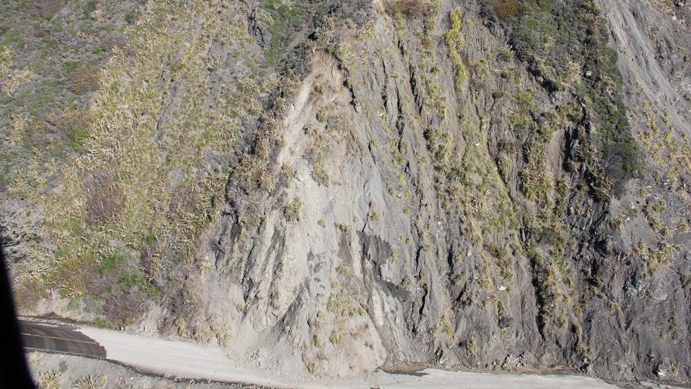 Aerial view of the Mud Creek slide | Photo: Caltrans