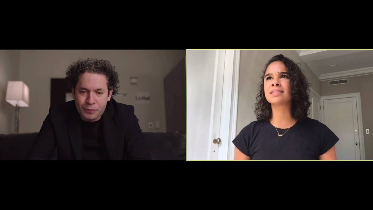 "Misty Copeland and Gustavo Dudamel in conversation | Still from ""In Concert at the Hollywood Bowl"" Gustavo and Friends"