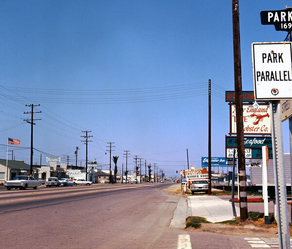 PCH in Orange County's Sunset Beach, 1966. Courtesy of the Orange County Archives.