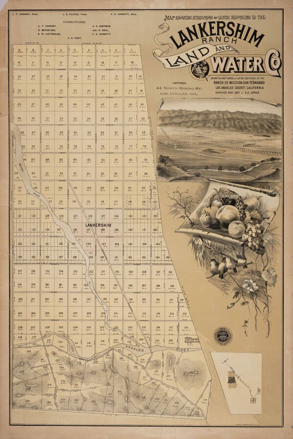 This 1888 map advertised the subdivision of the land that would eventually become North Hollywood and surrounding communities. Courtesy of the UCLA Library Special Collections.