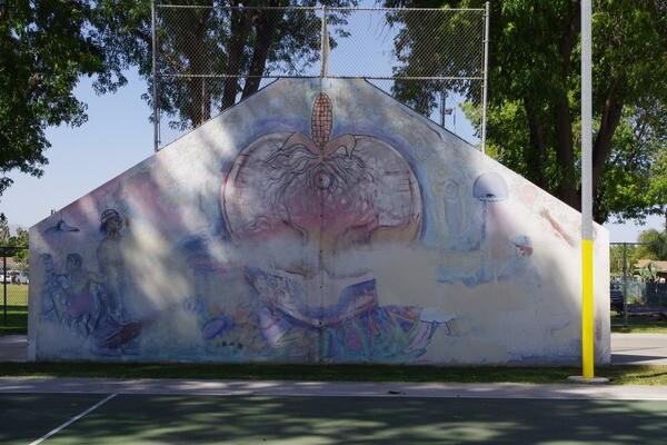 Mural on a handball court at Villegas Park in Casa Blanca.