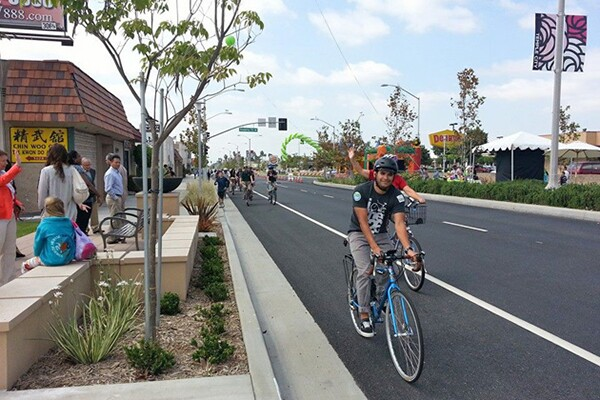 Redesigned Rosemead Blvd. in Temple City | Photo: Bike SGV Facebook
