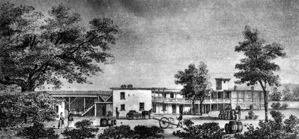 Drawing of Vignes' El Aliso winery. The eponymous sycamore tree stands to the left. Courtesy of the Photo Collection, Los Angeles Public Library.
