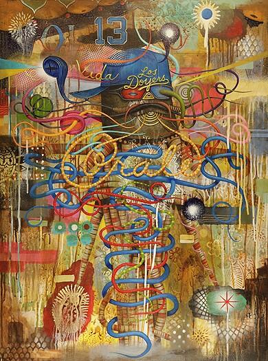 "GERMS, ""Por Vida,"" acrylic on wood, 24"" x 32"", 2012."
