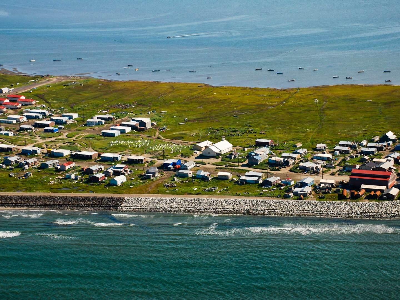 Aerial image of Shishmaref, Alaska. | Bering Land Bridge National Preserve