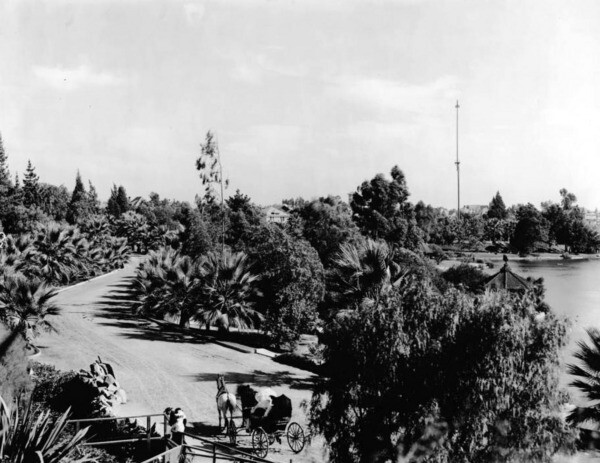 A buggy path became a palm-lined walking path. Courtesy of the Title Insurance and Trust, and C.C. Pierce Photography Collection, USC Libraries.