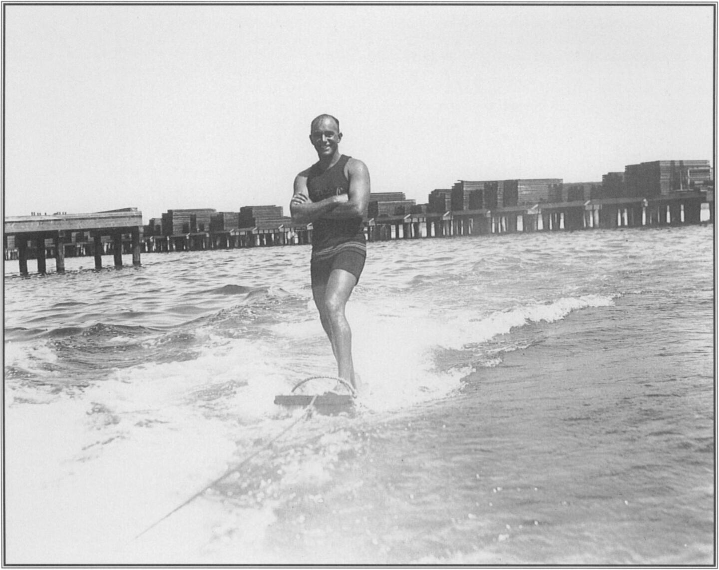 """Looking like """"a brown Mercury (whose) heels are winged,"""" as Jack London had called  him  years before in  Hawaii, George Freeth  aquaplaned  with  apparent  effortlessness in September 1916 in  San Diego."""