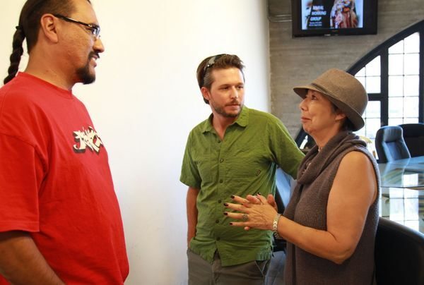 ManOne, Daniel Lahoda, and Isabel Rojas-Williams of the Mural Working Group I Ed Fuentes