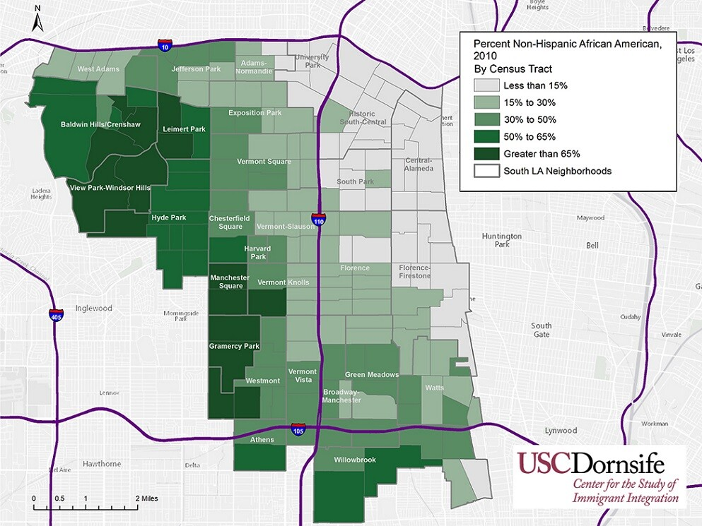 Percent Non-Hispanic African American, South Los Angeles, 2010