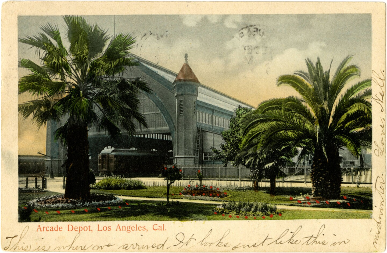 Circa 1905 postcard of L.A.'s Arcade Depot