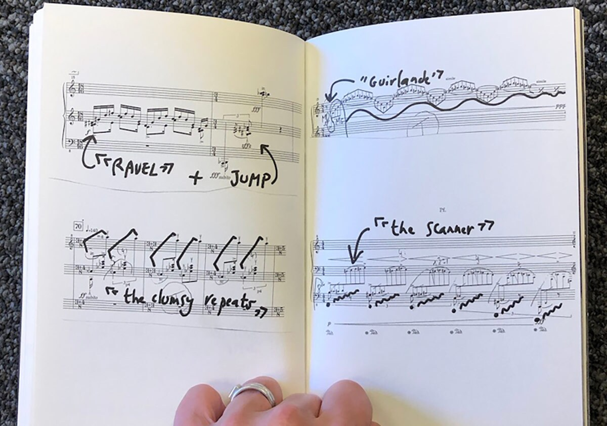 "A small booklet of sheet music with accompanying dance notations by Anne Teresa De Keersmaeker forms part of UCLA's ""The Choreographers' Scores: 2020"" project. 