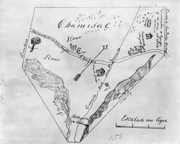 Map outlining the borders of the Campo de Cahuenga | Los Angeles Public Library