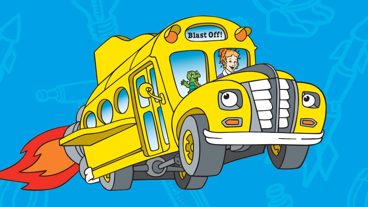 Cartoon of a woman and a lizard riding in a yellow school bus.