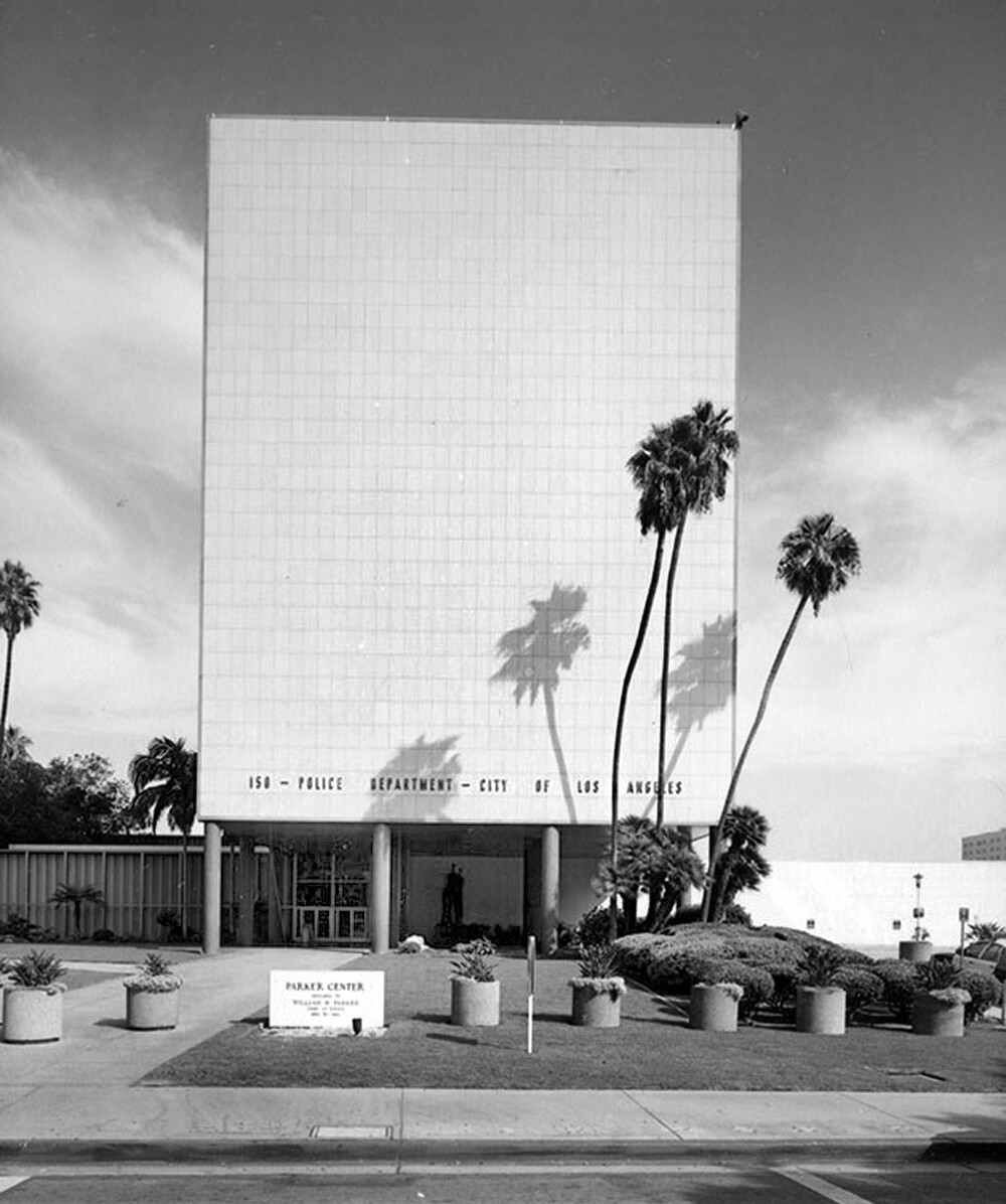 Parker Center from Los Angeles Street.