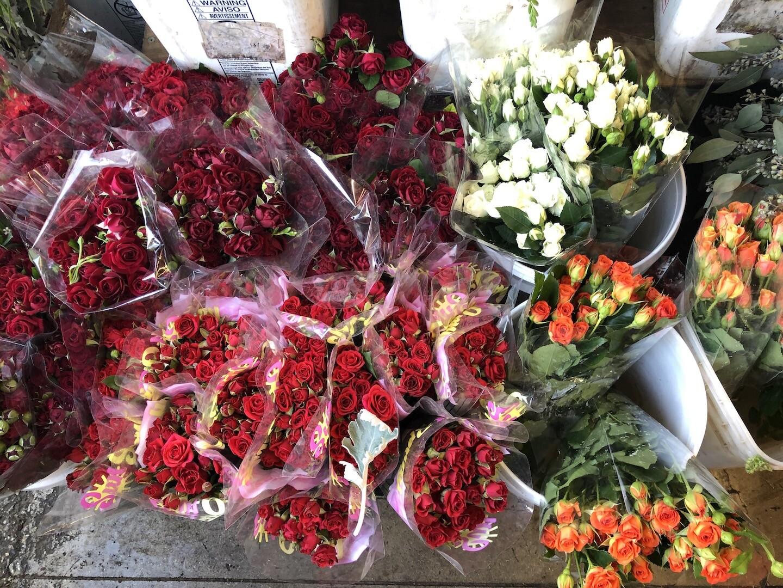 Roses for sale at Flower Market on May 8, 2020 | Karen Foshay