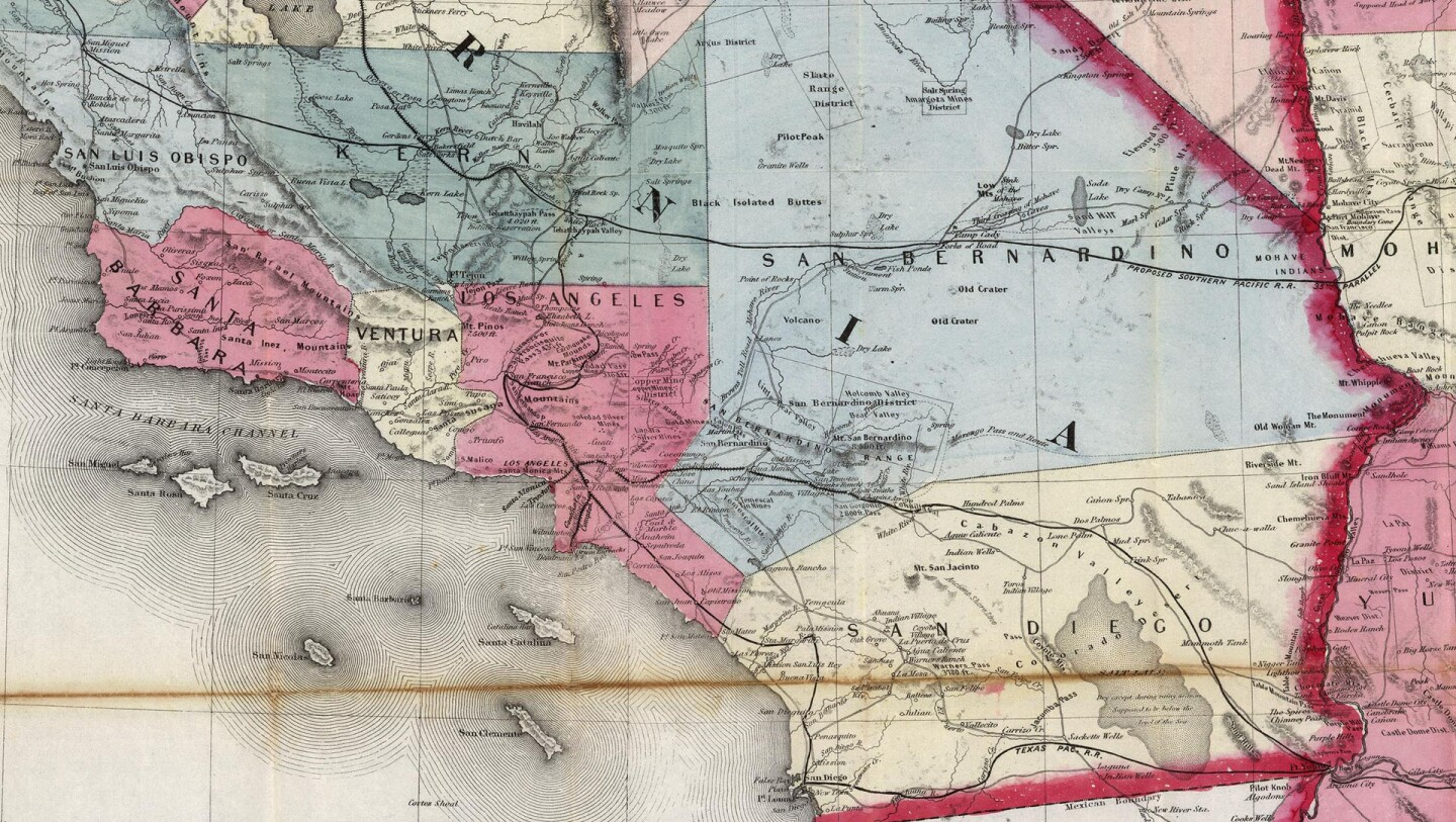 A map of Southern California counties from 1876, when Los Angeles and Orange counties were one. Courtesy of the David Rumsey Map Collection.