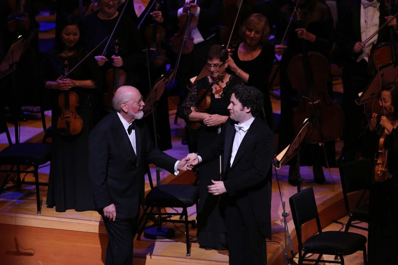 John Williams and Gustavo Dudamel at the Hollywood Bowl | Greg Grudt/Mathew Imaging