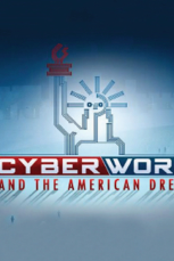 Blue square logo of CyberWork and the American Dream.