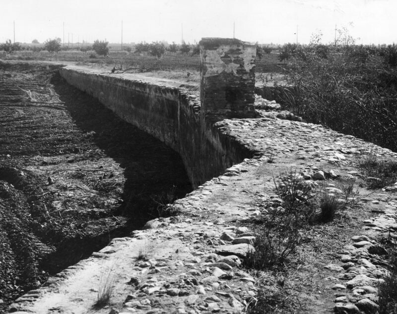 An example of early irrigation construction in the San Fernando Valley.