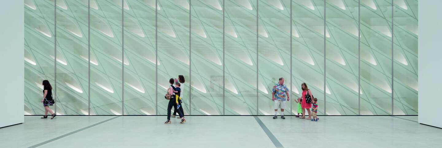 The Broad museum's third-floor galleries with skylights and interior veil | Iwan Baan, courtesy of The Broad and Diller Scofidio + Renfro