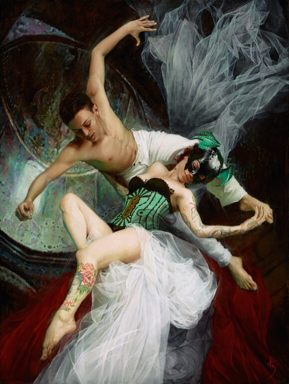 """[Click to enlarge] Alexandra Manukyan, """"Requiem of Flight,"""" 2012, oil on canvas, 30 x 40 inches."""
