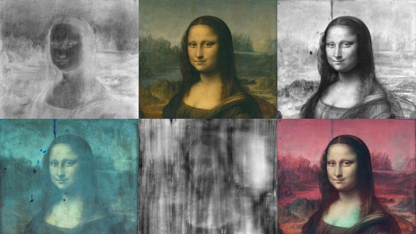 Multiple versions of the Mona Lisa.