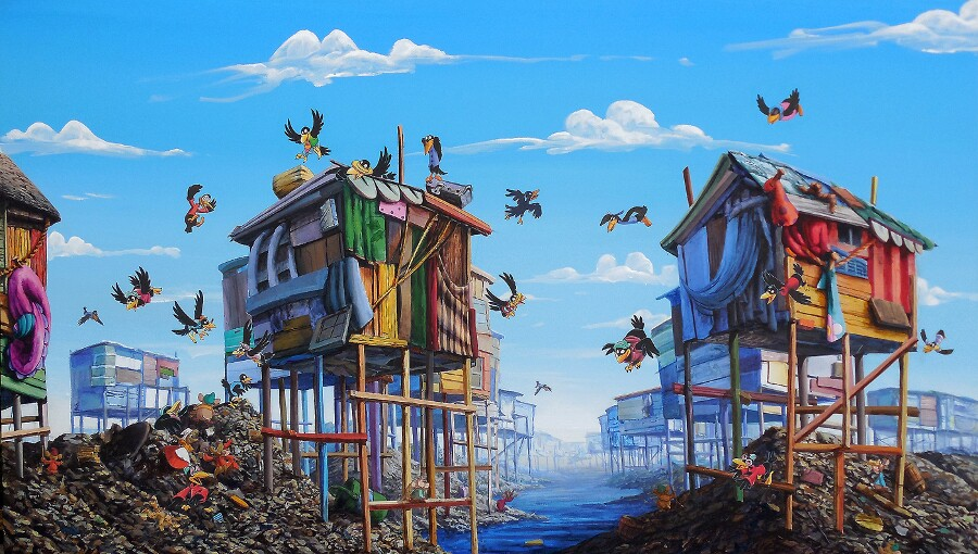 """Jeff Gillette, """"Crows."""" Disney book collage painting. 